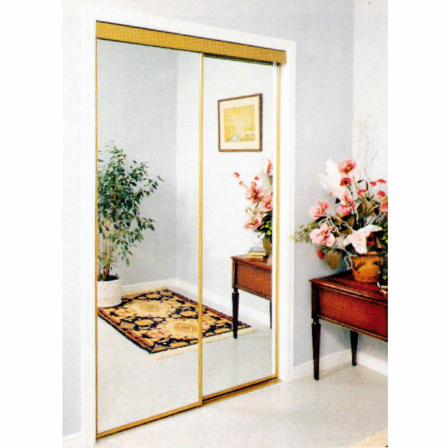 Erias 4050 Series 59 In. W. x 80-1/2 In. H. Mayan Gold Top Hung Mirrored Bypass Door Image 1