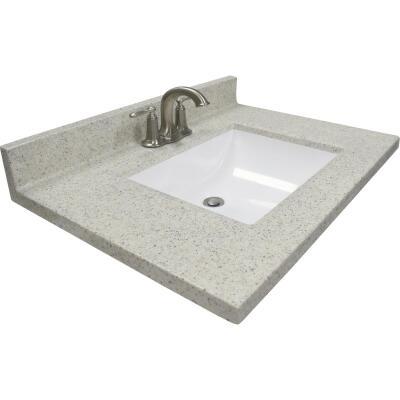 Modular Vanity Tops 31 In. W x 22 In. D Dune Cultured Marble Vanity Top with Rectangular Wave Bowl