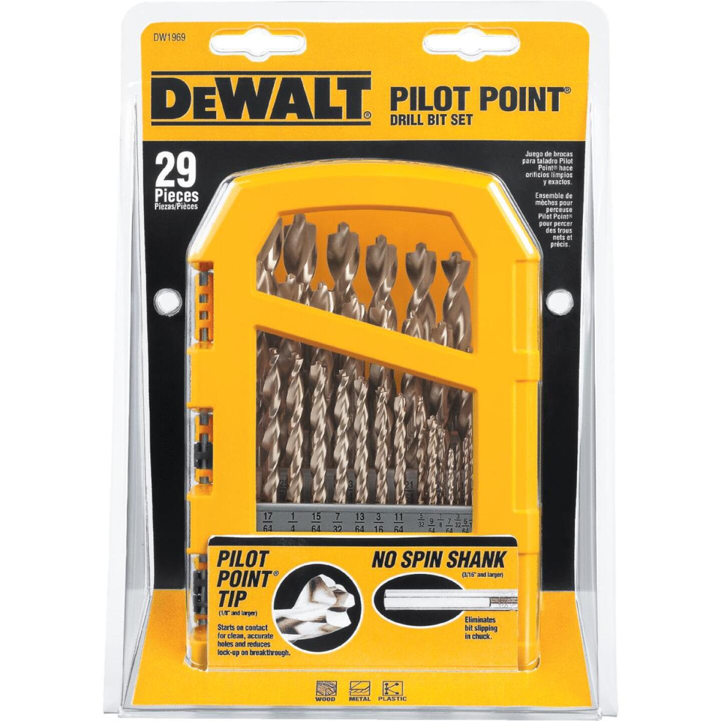DeWalt 29-Piece Gold Ferrous Pilot Point Drill Bit Set, 1/16 In. thru 9/32 In. Image 2