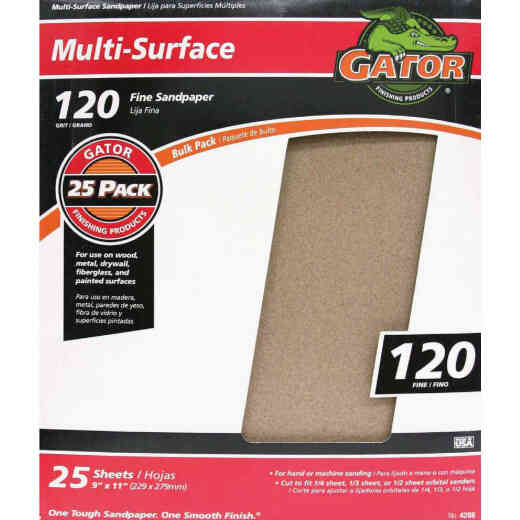Gator Multi-Surface 9 In. x 11 In. 120 Grit Fine Sandpaper (25-Pack)