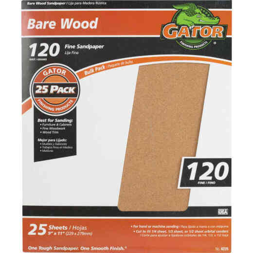 Gator Bare Wood 9 In. x 11 In. 120 Grit Fine Sandpaper (25-Pack)