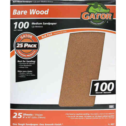 Gator Bare Wood 9 In. x 11 In. 100 Grit Medium Sandpaper (25-Pack)