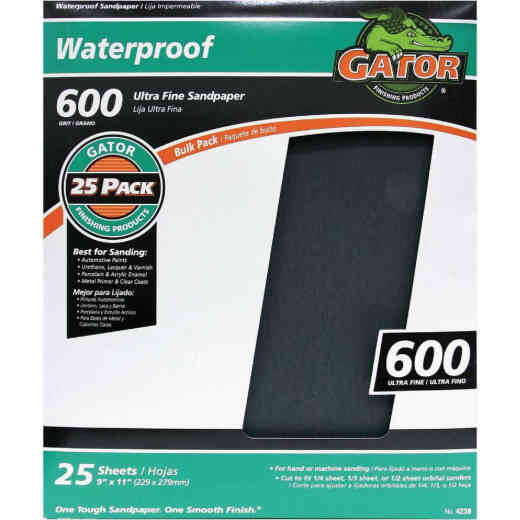 Gator Waterproof 9 In. x 11 In. 600 Grit Ultra Fine Sandpaper (25-Pack)