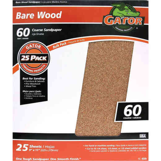 Gator Bare Wood 9 In. x 11 In. 60 Grit Coarse Sandpaper (25-Pack)