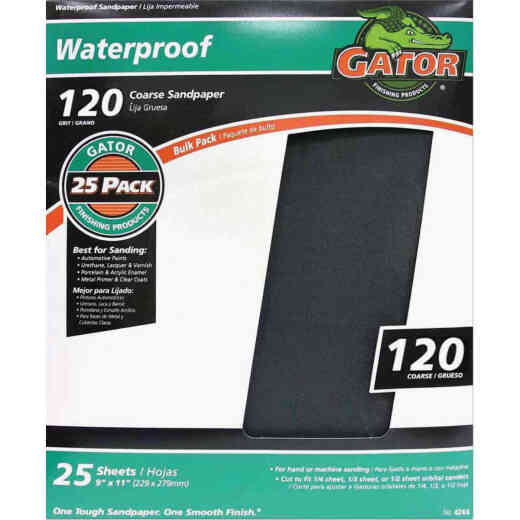 Gator Waterproof 9 In. x 11 In. 120 Grit Coarse Sandpaper (25-Pack)