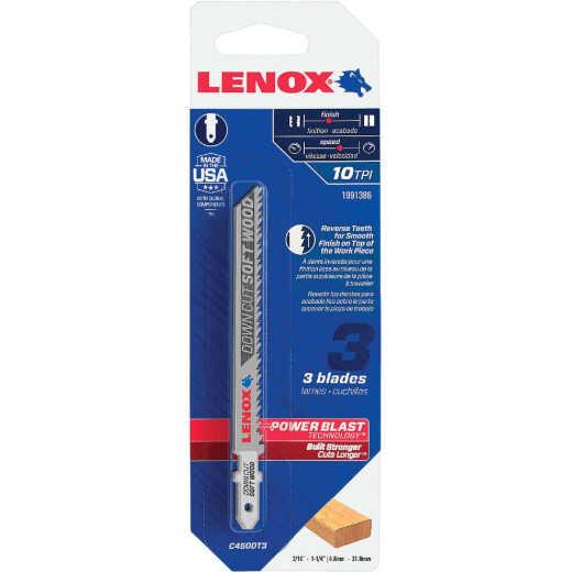 Lenox T-Shank 4 In. x 10 TPI High Carbon Steel Jig Saw Blade, Downcut Soft Wood (3-Pack)