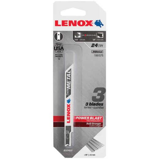 Lenox U-Shank 3-5/8 In. x 24 TPI Bi-Metal Jig Saw Blade, Thin Metal (3-Pack)