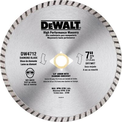 DeWalt High Performance 7 In. Turbo Rim Dry/Wet Cut Diamond Blade
