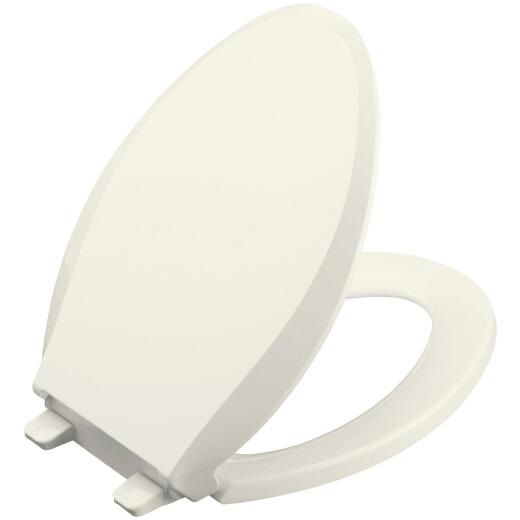 Kohler Cachet Quiet-Close Elongated Closed Front Biscuit Plastic Toilet Seat w/Grip-Tight Bumpers