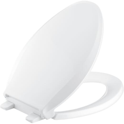 Kohler Cachet Quiet-Close Elongated Closed Front White Plastic Toilet Seat w/Grip-Tight Bumpers