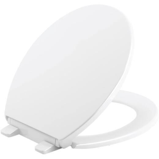 Kohler Brevia Quiet-Close Round Closed Front White Toilet Seat with Grip-Tight Bumpers