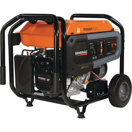 Generac PowerRush 8000W Gasoline Powered Electric/Recoil Pull Start Portable Generator
