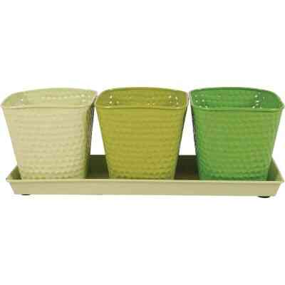 Robert Allen Selby 4.25 In. x 4 In. x 11.75 In. Metal Limelight Green Herb Garden Planter Set (4-Piece)